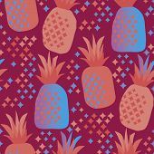 Fun Vivid Pineapple Seamless Pattern. Retro Style Repeatable Motif With Ananas Elements. Simple Cool poster