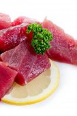 picture of yellowfin tuna  - raw tuna on white background - JPG