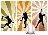 Постер, плакат: Игроки в бейсбол вектор