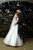 pic of wedding couple  - bride and groom dancing in the restaurant - JPG