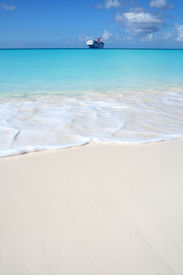foto of cruise ship  - Crystal clear beach with nice blue water - JPG