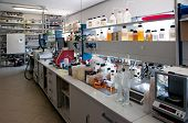 foto of flask  - Laboratory for chemical analysis of industrial oils