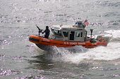 Armed US Coast Guard patrol boat in NYC