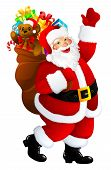 foto of santa-claus  - illustration of Santa Claus with presents isolated on white - JPG