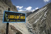 stock photo of prone  - landslide prone area on annapurna circuit nepal - JPG