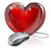 stock photo of long distance relationship  - Illustration of a computer mouse connected to a red heart symbol concept for online dating romance or similar - JPG