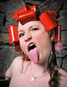 Crazy Rollers Girl Sticking Out Tongue Making Funny Face poster