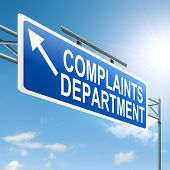 foto of moaning  - Illustration depicting a roadsign with a complaints department concept - JPG