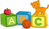 Illustration of a Cat Standing on a Learning Block with the Letter C Written on it