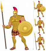picture of sparta  - Greek hero isolated on white. On the right are 3 additional versions of him. 