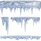 stock photo of refraction  - Set of 4 blue thawing icicles for christmas design - JPG