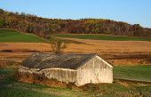 Old farm shed in autumn landscape