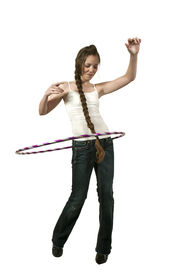 picture of hulahoop  - Young teenage woman with a hula hoop - JPG