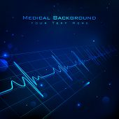 image of waveform  - illustration of heart beats on Healthcare and Medical background - JPG