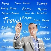 Man Writing The Names Of Travel Destinations poster