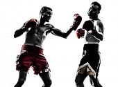 stock photo of muay thai  - two caucasian  men exercising thai boxing in silhouette studio  on white background - JPG