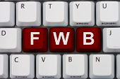 picture of slang  - Computer keyboard keys with word fwb Internet Dating Slang - JPG