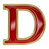 image of letter d  - Ruby red with golden outline alphabet letter symbol  - JPG