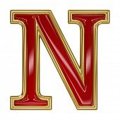 image of letter n  - Ruby red with golden outline alphabet letter symbol  - JPG