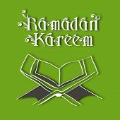foto of islamic religious holy book  - Muslim community holy month of Ramadan Kareem background with  open Islamic religious holy book Quran Shareef on green background - JPG