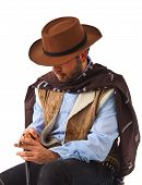 pic of gunslinger  - Bad gunslinger  in the old wild west on white background - JPG