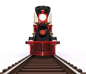 stock photo of locomotive  - Old Locomotive Train isolated on white background - JPG