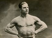 KALISZ, POLAND, CIRCA THIRTIES - vintage photo of muscular man with naked torso, Kalisz, Poland, cir