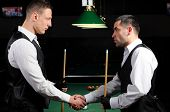 stock photo of snooker  - young professional people are welcome to play snooker - JPG