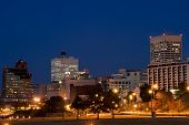 stock photo of memphis tennessee  - Highrises of Memphis Tennessee skyline in night time - JPG