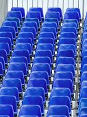 stock photo of grandstand  - grandstand with blue chairs - JPG