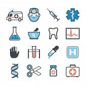 stock photo of emergency light  - Ambulance icons set colors - JPG