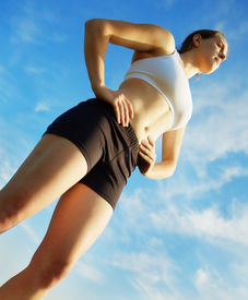 stock photo of workout-women  - Beautiful young woman runner having a workout session.