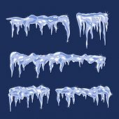 pic of arctic landscape  - Blue Ice sheets with icicles Vector Illustration - JPG