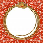 picture of horseshoe  - cowboy card background with rope frame and western hat - JPG