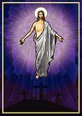 stock photo of risen  - Vector illustration of the Resurrected Jesus Christ - JPG