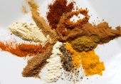 foto of garam masala  - mixture of spices on a white plate - JPG