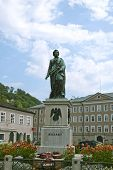 stock photo of mozart  - Statue of Wolfgang Amade Mozart in Salzburg Austria - JPG