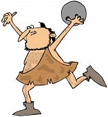 stock photo of caveman  - This illustration depicts a caveman throwing a bowling ball - JPG