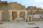 picture of minotaur  - Ancient stone ruins of Knossos palace Crete - JPG