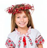 picture of national costume  - cute happy  little girl in the national Ukrainian costume isolated over white background - JPG