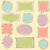 stock photo of oval  - Set of cute doodle frames on striped background - JPG