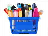 stock photo of gels  - Plastic shopping basket with plastic bottles of body care and beauty products - JPG