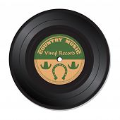 pic of jukebox  - Isolated vinyl record with the text country music written on the record - JPG