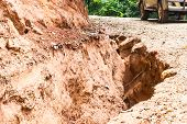 foto of landslide  - Road Landslide Damage in rural northern Thailand - JPG