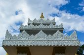 stock photo of shan  - White Building Molding Art In Shan Style in Thailand - JPG