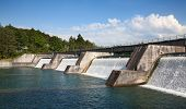 stock photo of dam  - Dam of the hydro power sation on tghe Rhine river - JPG