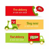 picture of food truck  - Fast food pizza free delivery 24h banners set isolated vector illustration - JPG