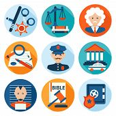 stock photo of jury  - Law legal justice police investigation and legislation flat icons set isolated vector illustration - JPG