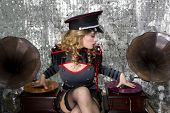 Постер, плакат: Beautful Military Disco Dj With Gramophones
