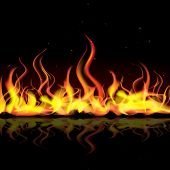 pic of blast-furnace  - illustration of burning fire flame on black background - JPG